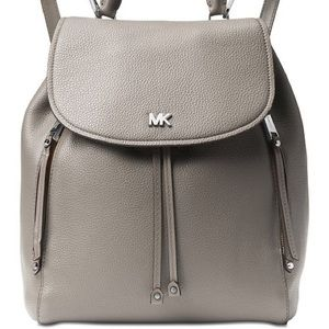 EUC Michael Kors Evie Leather Backpack Pearl Grey